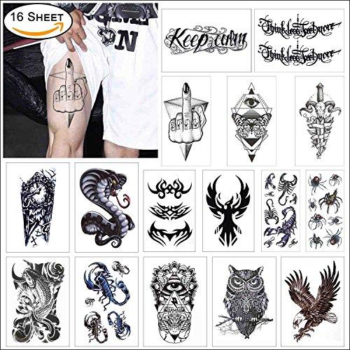 r Schwarz Temporäre Tattoo für Guys für Man - Groß Körper Aufkleber Flash Tattoo Arm Schulter Make Up - Tribal Symbols, Koi Fish, (Tribal-make-up)