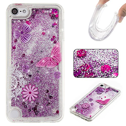 Ooboom® iPod Touch 6/5 Hülle TPU Silikon Bumper Schutzhülle Handy Tasche Case Cover mit Funkeln Glänzend Bling Glitter - Lila Schmetterling (Lila Glitter Touch Case Ipod 4)