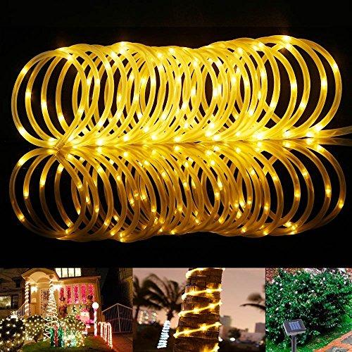 KEEDA Solar Lichtschlauch, 39ft Lichterkette kupfer Draht Lichter, Outdoor Garten Lichterkette, Weihnachten dekorativen Seil Lichter, Lichterkette & #-; 2Leuchtmodi (Outdoor-solar-seil Lichter)