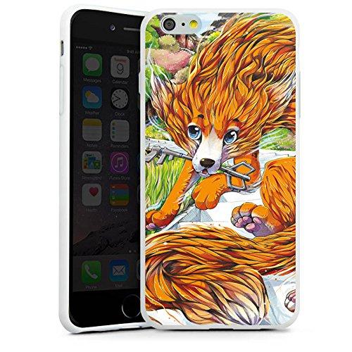 Apple iPhone X Silikon Hülle Case Schutzhülle Fuchs Zeichnung Orange Silikon Case weiß