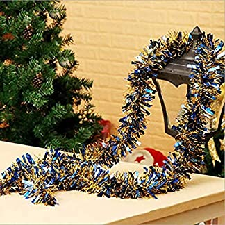 Cosanter 1PCS Cinta de Navidad de Navidad Cintas para Decorativas árbol Navidad Boda Partido Espumillón Guirnalda Adornos de Navidad (Azul) 200cm
