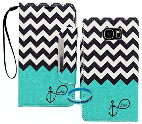 Galaxy Note 5Fall, Galaxy Note 5Wallet, Wireless Fones TM Einzigartige Wallet Anchor Infinity Love Chevron Print Schutzhülle mit PU Leder und Kartenfächer/Wristlet für Galaxy Note 5 -