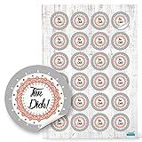 24 Stück rot weiß graue runde FÜR DICH shabby vintage Aufkleber - Sticker selbstklebend Etiketten mit 4 cm zur Verpackung als Selbstgemacht give-away Geschenkverpackung Hochzeit Weihnachten