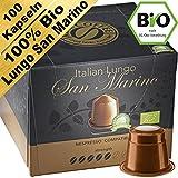 Bio Lungo San Marino: 100 Nespresso kompatible Kapseln. Kaffeekapseln Testsieger. Lungo San Marino