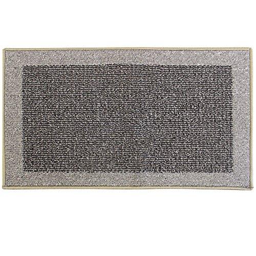 JVL Madras Fußmatte Maschinenwaschbar Latex Rückseite Tür Läufer, Plastik, schwarz/grau, 50 x 80 cm
