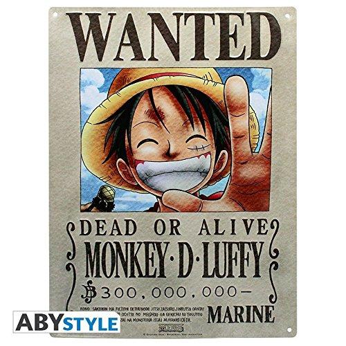 One piece Plaque en tôle 3D Wanted Luffy Ruffy 38 x 28 cm