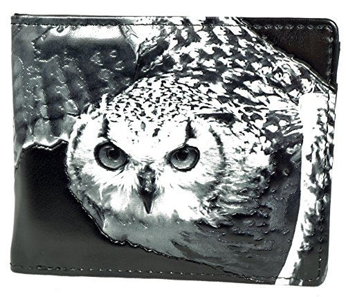 Shagwear Herren Geldbörse, Mens Wallet Designs: (Eule,Grau/Owl)