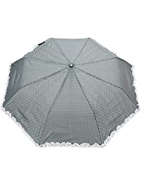 FabSeasons Dot Printed With Frills, 3 Fold Fancy Automatic Umbrella For Rains, Summer & All Year Use