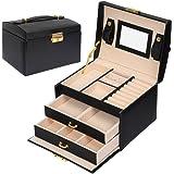 Meerveil Boîte à Bijoux, Coffret pour Bijoux Boîte à Maquillage Bijoux et cosmétique Beauty Case à 3 Couches en Simili Cuir a