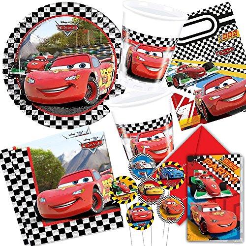 106-pices-Cars-Formula-Party-Kit-pour-anniversaire-denfant-avec-68-enfants-assiettes-verres-serviettes-invitations-sachets-de-Fte-pailles-ballons-Serpentins-etc-Fte-danniversaire-pour-enfant-Motif-pav