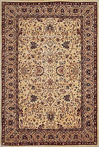 Mehar Carpets & Home Traditioneller handgeknüpfter Perserteppich, 100% Wolle, modern, Elfenbeinfarben/Beige -