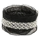 MagiDeal 97cm Perlen Nähen Mesh Band Kleid Dekor Handwerk Weiß/Schwarz - Schwarz, One Size