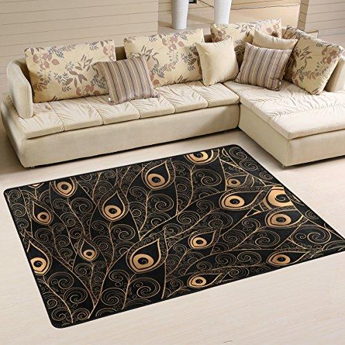 yibaihe leicht, Bereich Teppich Teppich dekorativen modernes Gold Schwarz Federn Muster Wasserabweisend farbbeständige für Wohnzimmer Schlafzimmer, 183 x 122 cm - Dekorative Teppiche Moderne Teppiche