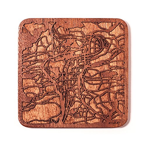 Prag Stadtplan Untersetzer, One piece, Sapele Wooden Coaster with city map, Multiple city optional, Handmade