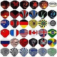 Lictin 18 Pcs Dartpfeile Darts Pfeile Set Dartpfeile Steeldarts Steel Dart mit Unterschiedlichen Nationalfahnen