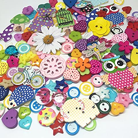 Rosey's Craft Shops® 160 Exclusive Random Button Mix Wooden And Resin Embellishments