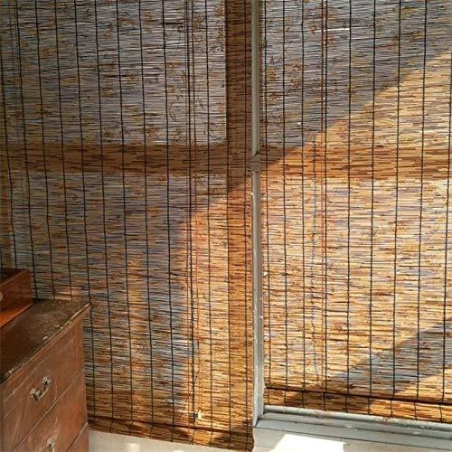 Bambusrollo - Llichtfilter Jalousien,BambusRollladen, Keine Notwendigkeit Zum Bohren, Dekorative Reed Vorhänge, Sonnenschutz/Wärmeisolierung, Anpassbare Größe (Tür-fenster-vorhang-24 X 36)