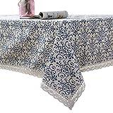 Tischdecke, Furnily Baumwolle Leinen Tischdecke, Makramee Spitze Tischdecken Leinen, Rechteck Tischdecken (140 cm x 200 cm)