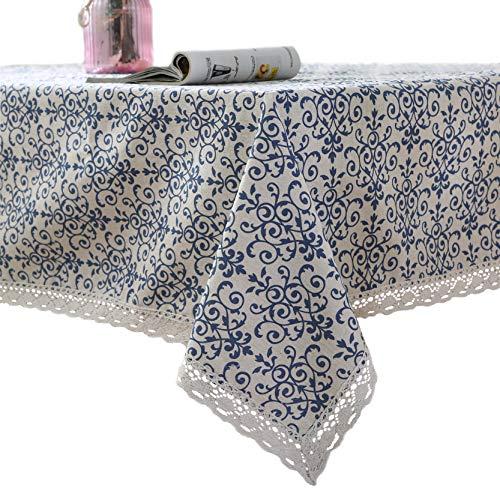 Tischdecke, Furnily Baumwolle Leinen Tischdecke, Makramee Spitze Tischdecken Leinen, Rechteck Tischdecken (140 cm x 200 cm) -