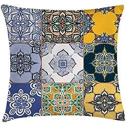 Funda de cojín marroquí, juego de patrones de azulejos africanos y portugueses, varios tonos y texturas, estampado bohemio, funda de almohada decorativa de acento cuadrado, 45,7 x 45,7 cm, multicolor