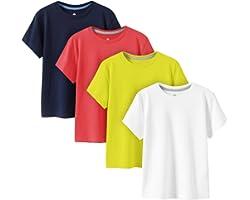 LAPASA 4 Pack Kids Plain T-Shirts 100% Cotton Colourful Tee Shirts for Boys Girls Children School Uniform K01