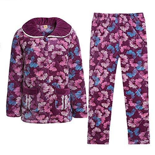 GJX Pigiama inverno Coral velluto cotone pigiama elegante stampa Long