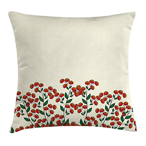Kissenbezüge Nature Throw Pillow Cushion Cover, Red Clusterberries in Bush Leaves Garden Christmas Theme Image Print, Decorative Square Accent Pillow Case, 18 X 18 inches, Olive Green Red and Peach