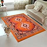 "Home Elite Abstract Microfibre Carpet - 84""x60"", Orange"