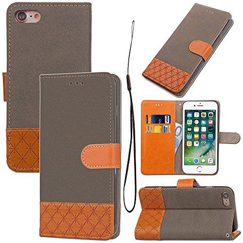 JIALUN-étui pour téléphone Couleurs mélangées Housse en cuir PU Premium Housse de protection pour porte-monnaie à 360 ° précieuse avec lanière et embouts pour iPhone 7 ( Color : Beige ) Brown