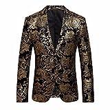 LHWY Herren Jacke Winter, Männer Kleid Floral Anzug Revers Revers Slim Fit Stilvolle Blazer Mantel Jacke Luxus Abend Party Kleidung v-Ausschnitt (3XL, Gold)