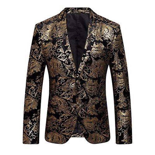 Herren Jacke Winter, LHWY Männer Kleid Floral Anzug Revers Revers Slim Fit Stilvolle Blazer Mantel Jacke Luxus Abend Party Kleidung v-ausschnitt (L, Gold) (Reverse-hawaii-shirt)