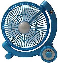 LUMONY Super Rechargeable portable 3 Blade Table Fan with Led Light (Multi Color)