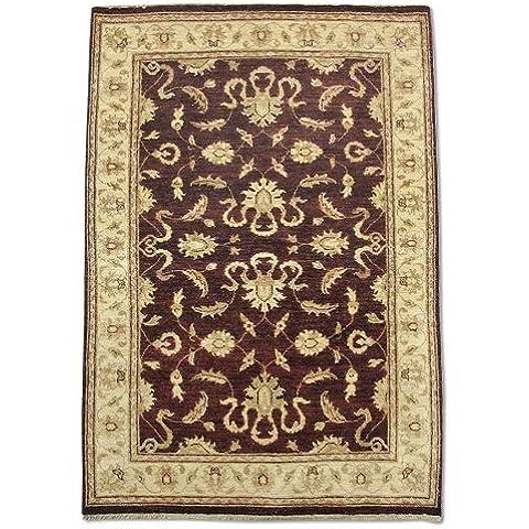 Agra rettangolare realizzato a mano, in lana, rosso scuro, 182