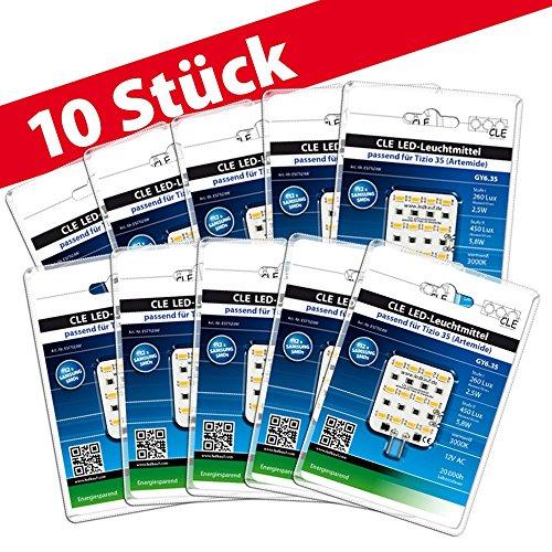 10x LED Ersatzleuchtmittel für Artemide Tizio 35 12V GY6.35 3000K 6 Watt (35 Watt) -