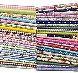 50Pcs Baumwollstoff Patchwork Stoffe DIY Gewebe Quadrate Baumwolltuch Stoffpaket zum Nähen mit vielfältiges Muster 20x20cm