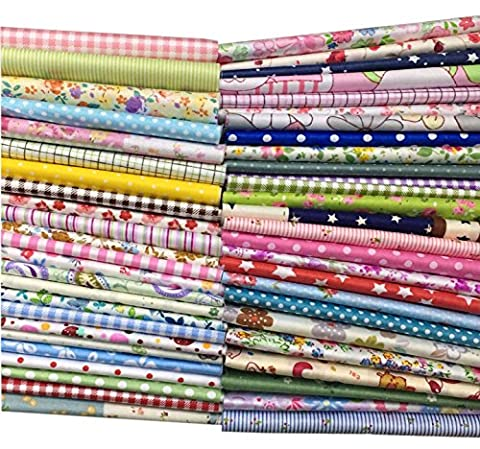 Misscrafts Cotton Fabric Cutoff for Patchwork 20*20cm Squares 50pc Assorted Patterns
