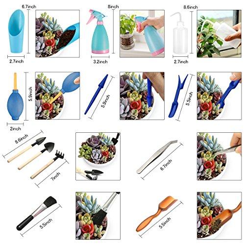 14Pcs Mini Gartenarbeit Handwerkzeuge Set, Pathonor Pflanzen Bewässerung Flaschen Verpflanzung Miniature Garten Pflanzung Hand Tools Set Include Pruner, Mini Rake, Wasser Flasche