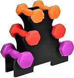 DREAMADE Set di Manubri Esagonali con Supporto Set di Pesi A Mano 6 Pezzi Manubri per Casa o Palestra, 2 x 1 kg, 2 x 1,5…