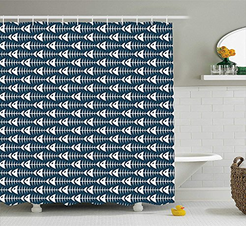 BUZRL Animal Shower Curtain, Fish Bone Skeleton Pattern with Spines Sea Underwater Theme Illustration, Fabric Bathroom Decor Set with Hooks, 66x72 inches, Petrol Blue White