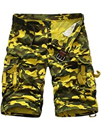 Juleya Pantalones cortos de camuflaje de carga para hombres Pantalones cortos de verano de carga Pantalones cortos de hip hop de Camo… GJrTBvJ