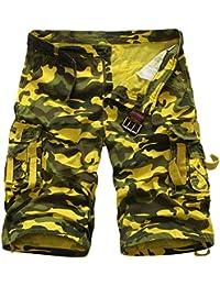 Juleya Pantalones cortos de camuflaje de carga para hombres Pantalones cortos de verano de carga Pantalones cortos de hip hop de Camo…