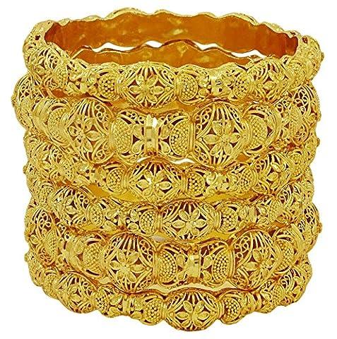 Matra Groupe de femmes indiennes plaqué or 18K porter 6 Pcs bracelet Set Bracelets ethniques bijoux 2 * 6