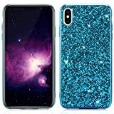 Slynmax iPhone XS max Phone case glitter silicone ultra slim fit cover, Blue