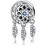 Ciondolo acchiappasogni in vero argento Sterling 925 con cristalli colorati, per braccialetti e collane, regalo di compleanno