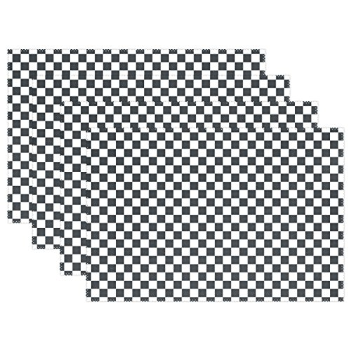 weiß kariert Grid Tischsets für Esstisch Set von 4hitzebeständig waschbar Polyester Küche Tisch MATS, Polyester, multi, 12 x 18 in ()