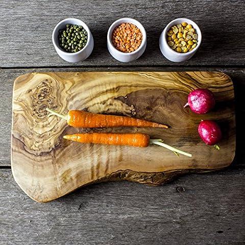 Planche à découper en bois d'olivier rustique/Planche à fromage–30x 15x 2cm