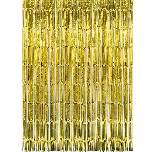 SUNBEAUTY Glitzervorhang Gold 91x240cm Folie Curtains Party Dekoration (Gold)