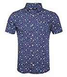 SOOPO Herren Kurzarm-Hemd mit Sternen-Muster in absolut bügelfreier Baumwoll-Qualität Blau 3XL