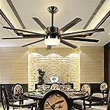 HEYUN& LED-fan fan Lichter beleuchtet Kronleuchter Wohnzimmer im europäischen Stil Eisen Blatventilator Licht Deckenventilator von großen Hotelrestaurants [Energieklasse A ++]
