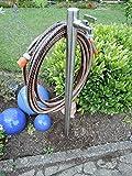 Wasserzapfstelle Edelstahl Wasserzapfsäule Wasserverteiler mit Schlauchhalter 85cm WS4285SH